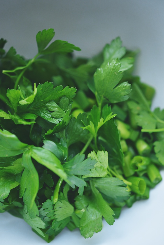 parsley, basil, and scallion greens