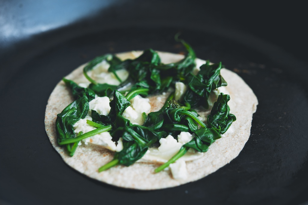 spinach and goat cheese quesadilla