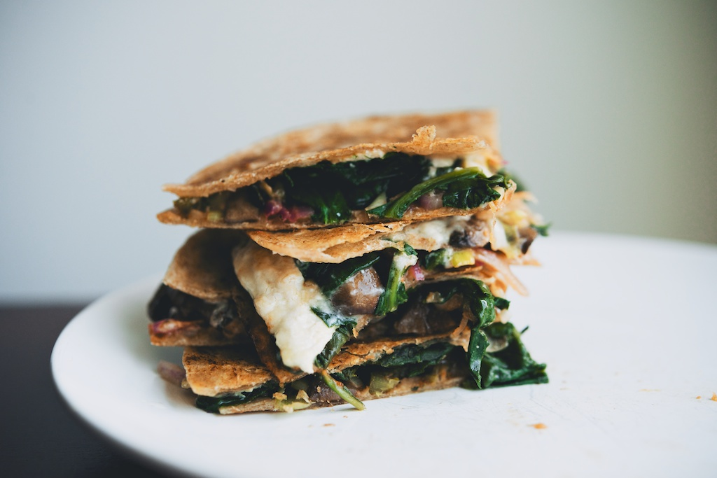Spinach, Mushroom, and Goat Cheese Quesadillas