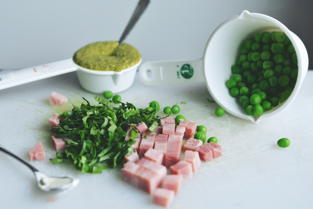 pea pesto, peas, ham, ribboned basil