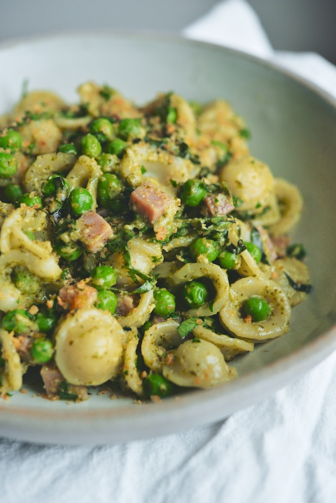 Orecchiette with Peas, Herbs, Ham, + Garlic Breadcrumbs