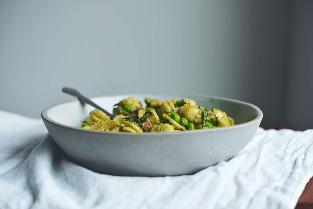 Orecchiette with Peas, Herbs, Ham, + Garlic Breadcrumbs