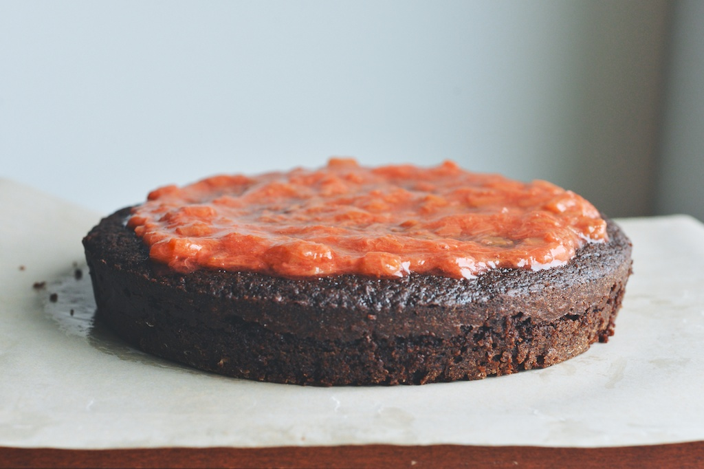 Chocolate Cake with Rhubarb-Strawberry Compote + Crème Fraîche Cream
