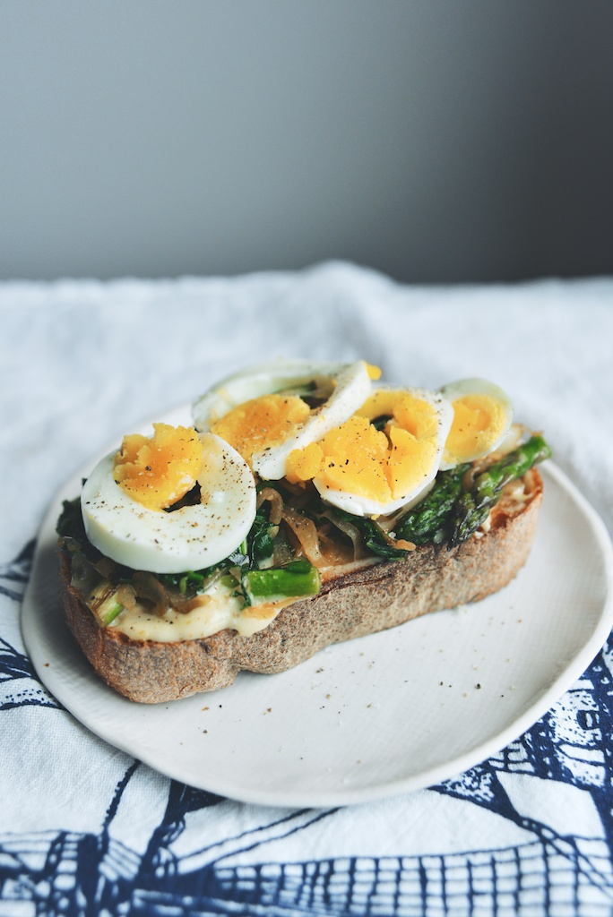 Spring Vegetable Tartines with Charred Scallion Mayonnaise + Hard-Cooked Egg