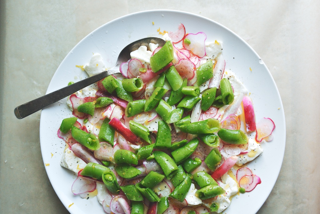 Radish, Snap Pea, and Burrata Salad with Chives and Lemon
