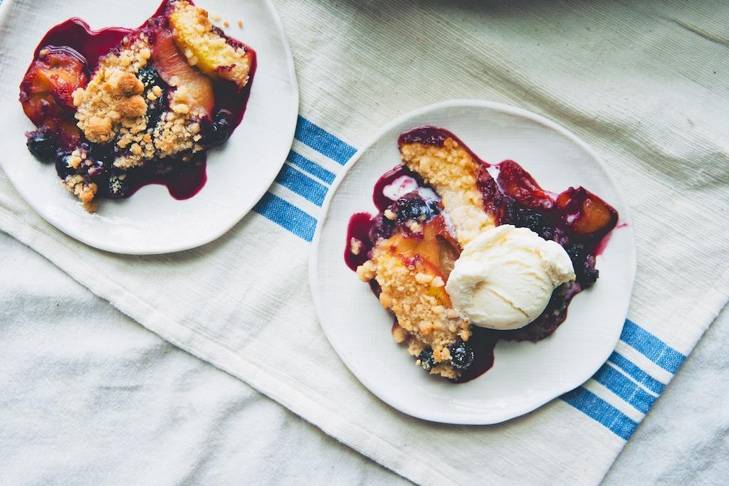 Peach and Blueberry Coconut Crisp