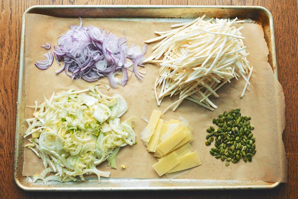 A Winter Salad of Fennel, Celery Root, Lemon, and Pecorino prep