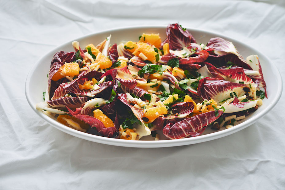 Trevisano and Blood Orange Salad with Toasted Hazelnuts, Pecorino, and Hot Honey