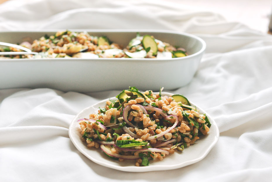 Green-Garlic Farro Salad with Marinated Zucchini and Herbs