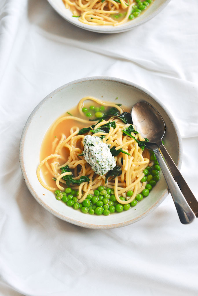Wedding Bucatini with Peas, Spinach and Herb Ricotta