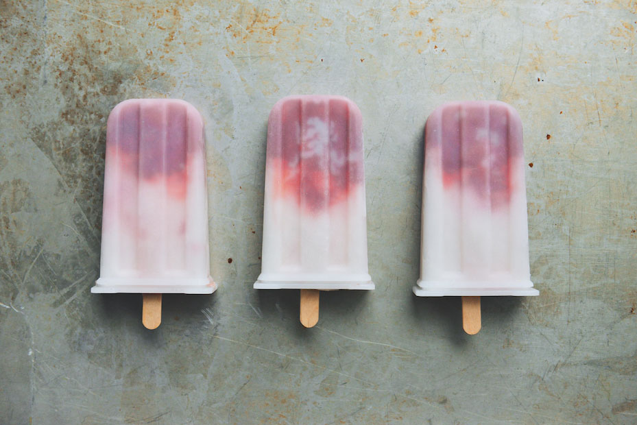 Coconut-Lime and Strawberry Popsicles