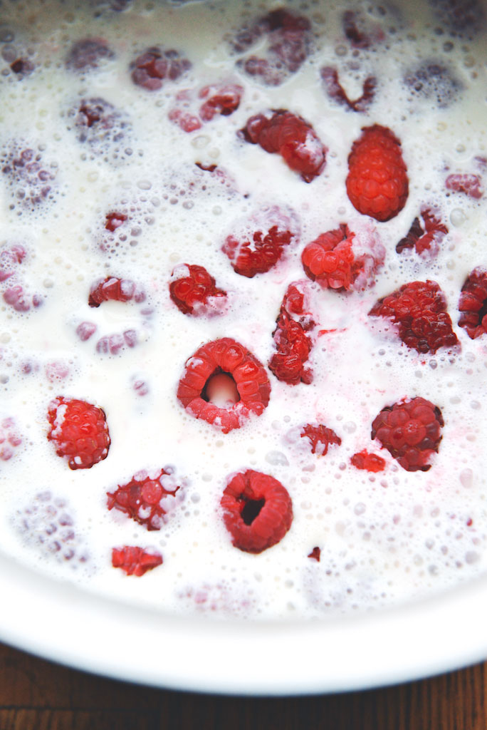 raspberries in cream