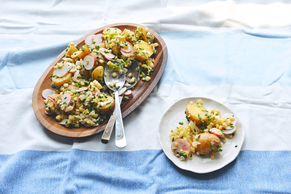 Potato, Corn, and Radish Salad with Crème Fraîche-Chive Dressing