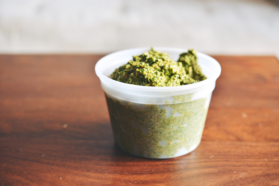 carrot top pistachio pesto