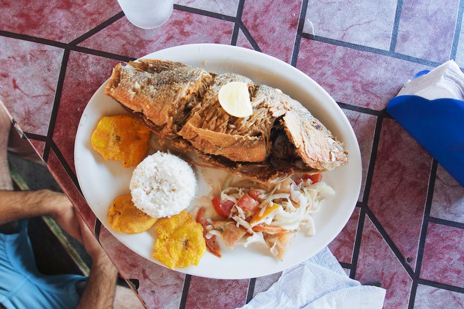 San Blas lunch: sea bass, salad, arroz con coco, tostones