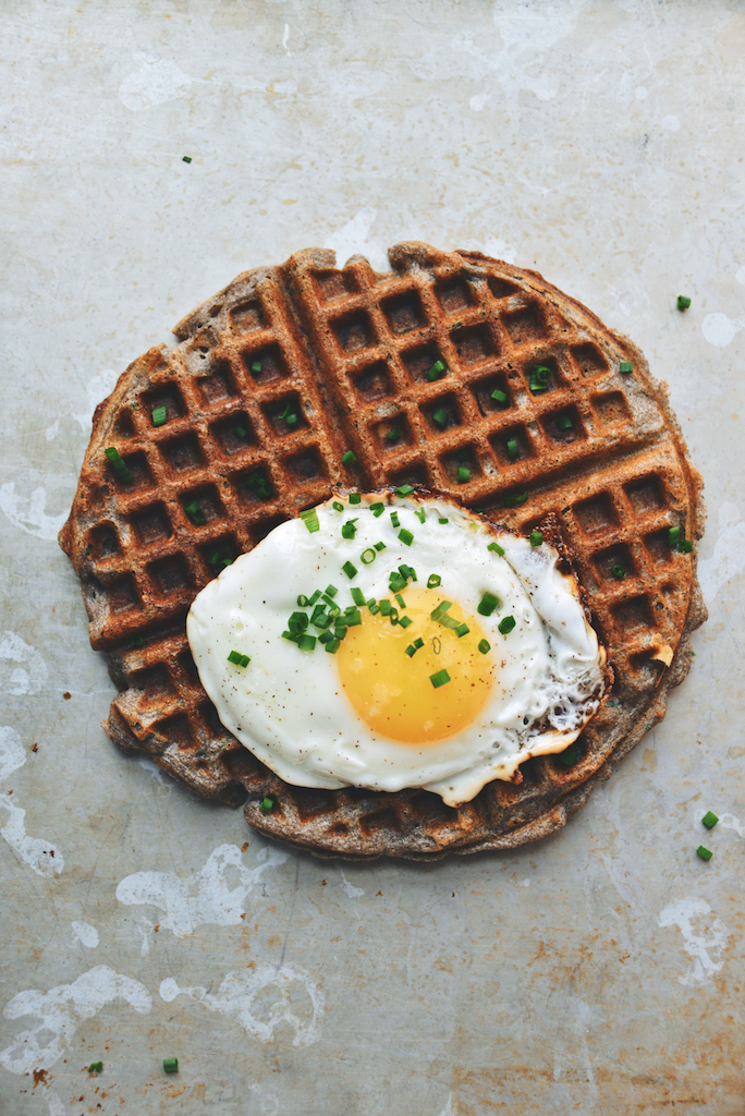 Ham and Cheese Buckwheat Waffles