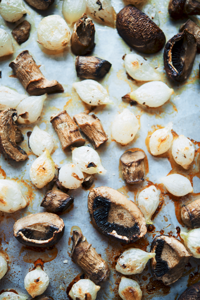 Roast onions and mushrooms