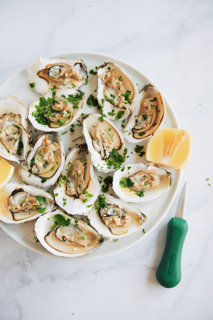 Bourbon, Garlic and Hot Honey-Butter Roasted Oysters