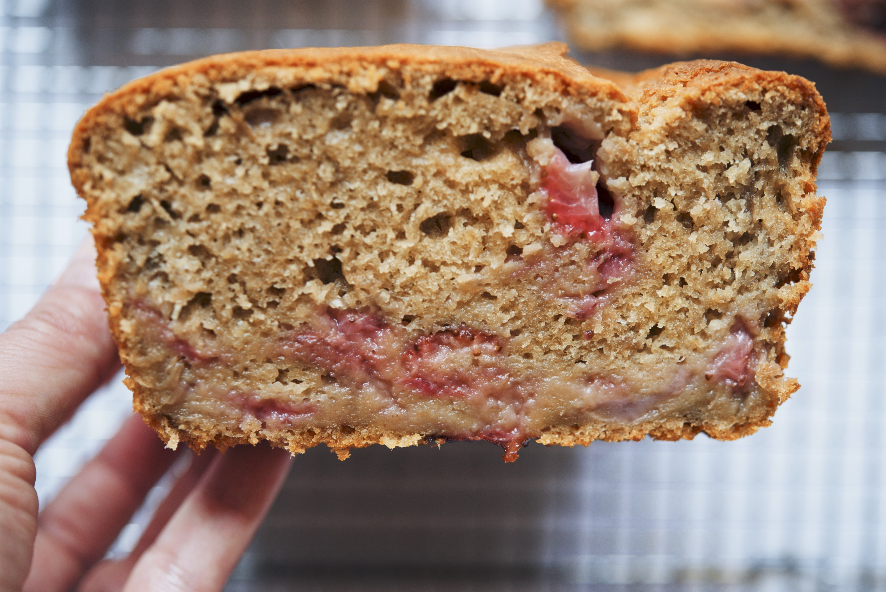 Crème Fraîche and Dark Sugar Strawberry-Rhubarb Loaf